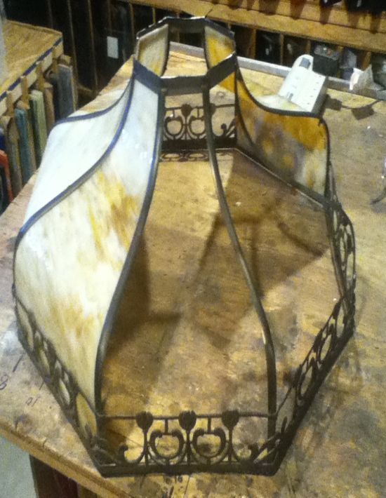 Large amber slag glass dome repaired