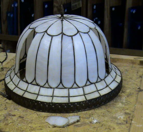 Helmet bent stained glass lamp repairs